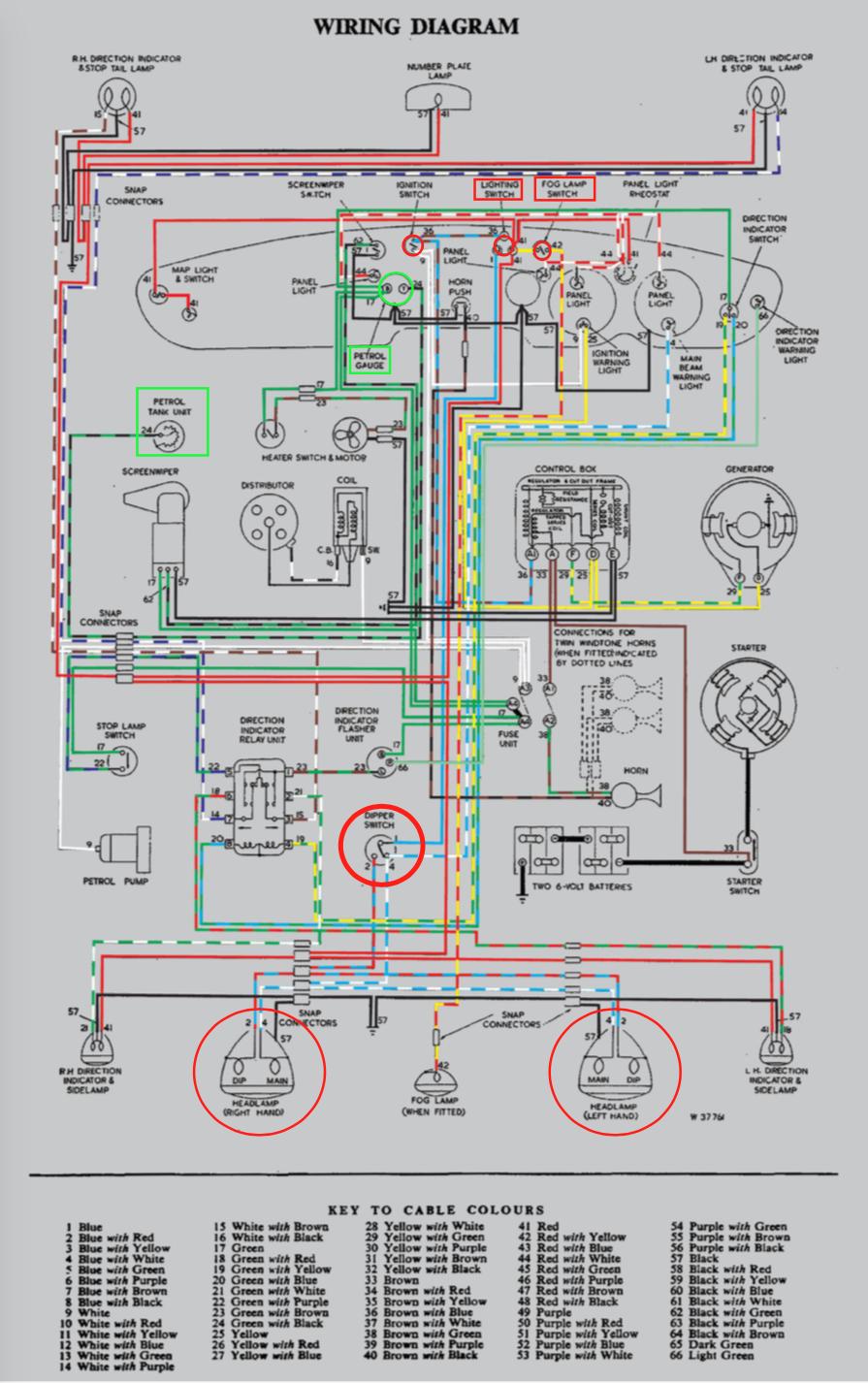 Forum MG   Afficher le sujet   MGA 40 Schéma circuit électrique ...